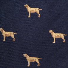 Woven Yellow Lab Bow - Navy